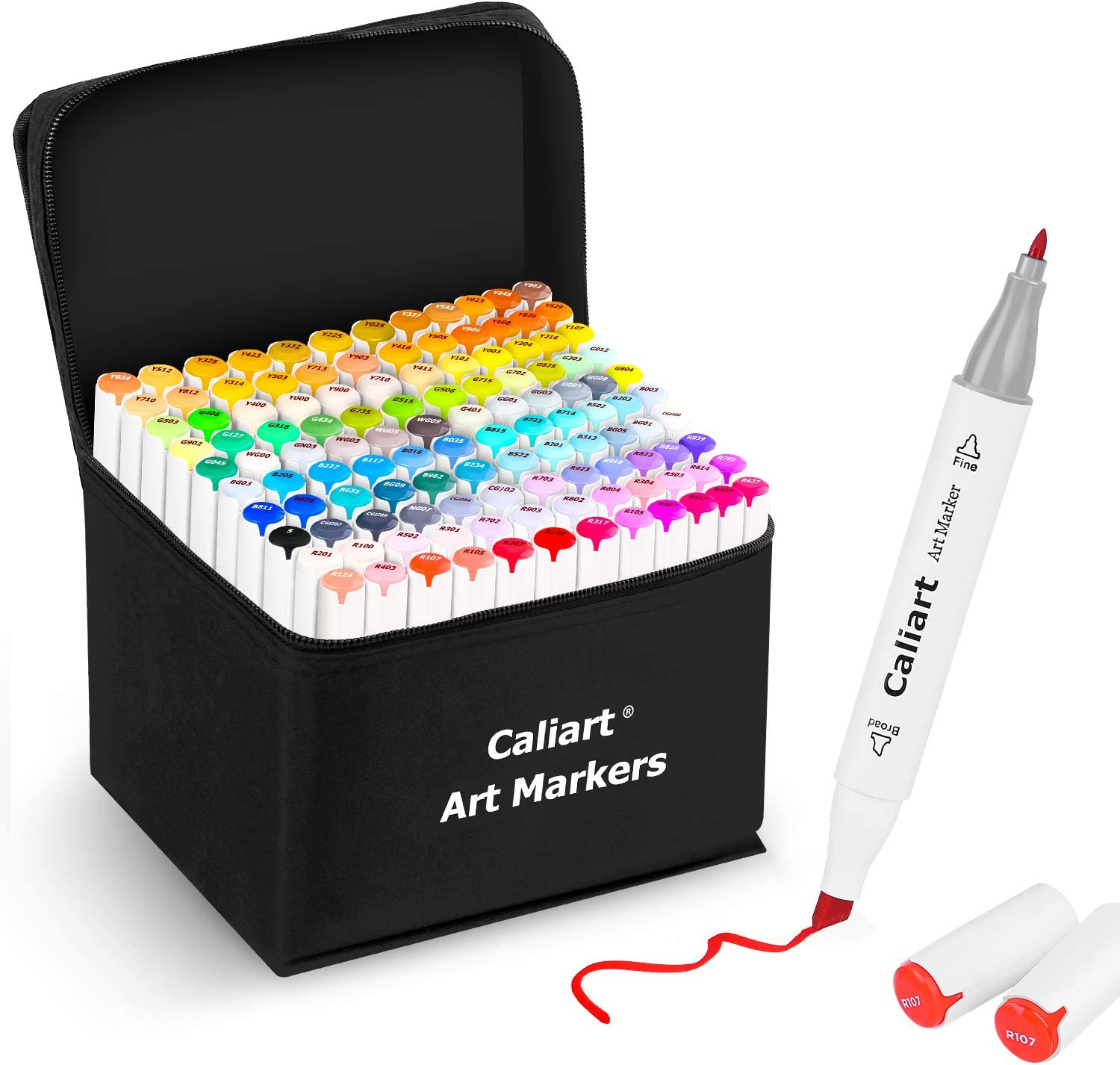 Caliart 121 Colors Artist Alcohol Markers Dual Tip Art Markers Twin Sketch Markers Pens Permanent Alcohol Based Markers with Case for Adult Kids Coloring Drawing Sketching Card Making Illustration