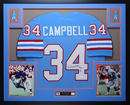 big sale fb4ff ae1ad Earl Campbell Autographed Blue Oilers Jersey - Beautifully ...