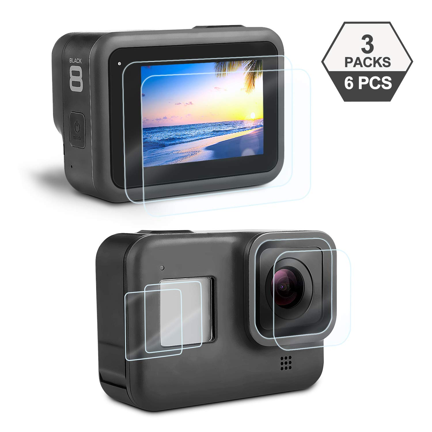 Screen Protector for GoPro Hero 8 Black, iTrunk 6 Pcs Ultra Clear Tempered Glass GoPro Hero 8 Screen Protector Lens Protector Accessories by iTrunk