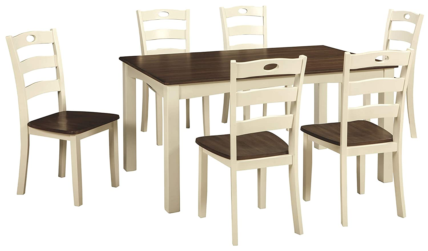 Amazon com ashley furniture signature design woodanville dining room table set set of 7 dining table and 6 chairs casual cream brown finish