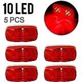 Partsam Trailer Marker LED Light Double Bullseye 10 Diodes Clearance Light Red 5PCS