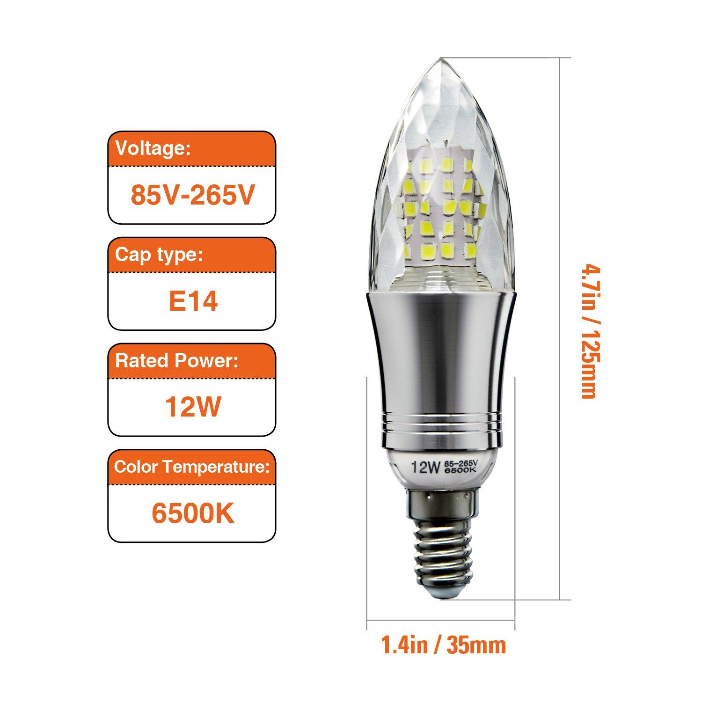 Hzsane Bombillas de Vela LED E14 de 12W, Bombillas Incandescentes Equivalente de 100W, Blanco Frío 6500K, 1200Lm, Pequeño Tornillo Edison Para Bombillas de ...