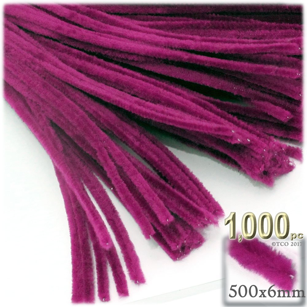 The Crafts Outlet Chenille Stems, Pipe Cleaner, 20-inch (50-cm), 1000-pc, Fuchsia