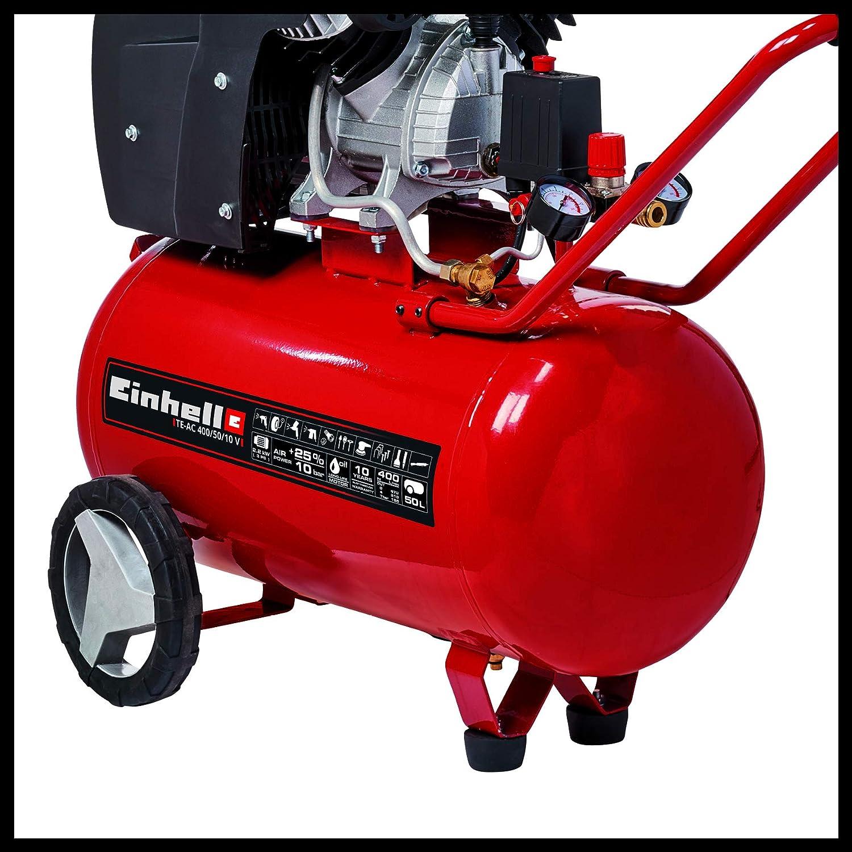 Einhell TE-AC 400/50/10 V Compresor, 2200 W, 240 V, Negro, Rojo: Amazon.es: Bricolaje y herramientas
