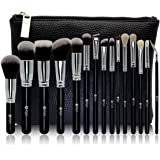 FEIYAN Makeup Brush Set Premium Natural Goat Hair Synthetic Cosmetic Professional Kabuki Makeup Foundation Blush Eyeshadow Concealer Powder Brushes Kit with Case (15 pcs, Silver Black )