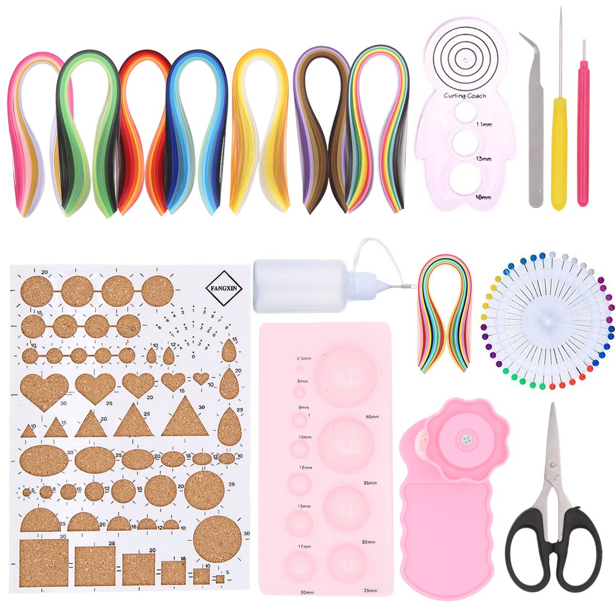 19 in 1 Paper Quilling Kit with 960 Strips 3mm Paper and 11 Tools Supplies,Crimper Comb Ruler Pins Border Buddy Set for DIY Quilling Art by Apol