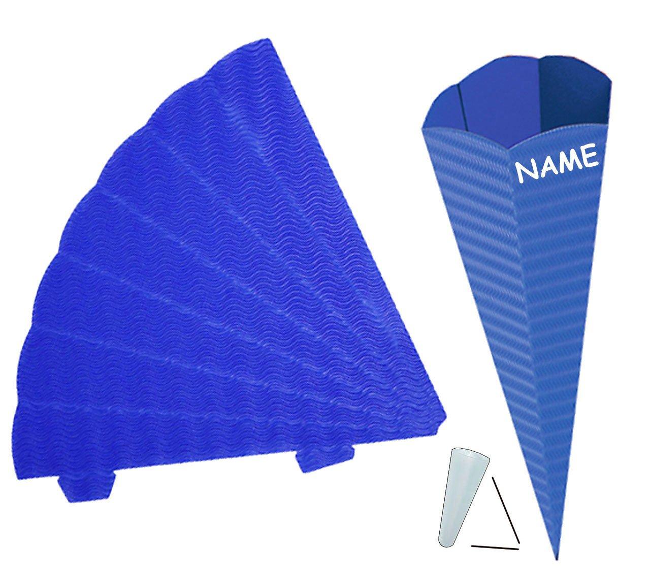 mit // ohne Kunststoff Spitze blau // dunkelblau 42 cm Bastelschult/üte -.. Unbekannt Zuckert/üte Rohling aus 3-D Wellpappe 6 eckig Schult/üte zum selber Basteln