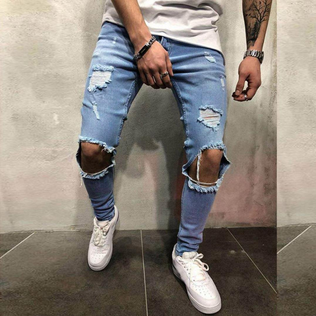 Willsa Men's Pants, Skinny Stretch Denim Pants Distressed Ripped Freyed Slim Fit Jeans Trousers by Willsa (Image #2)
