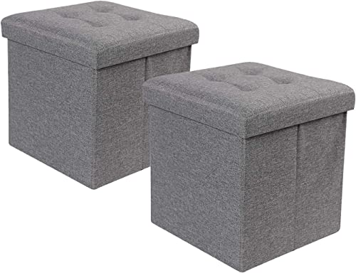 REDCAMP 15x15x15 Inches Cube Ottoman Set of 2, Sturdy Folding Small Ottoman Foot Rest with Storage, Great for Bedroom Dorm Living Room, Grey Linen