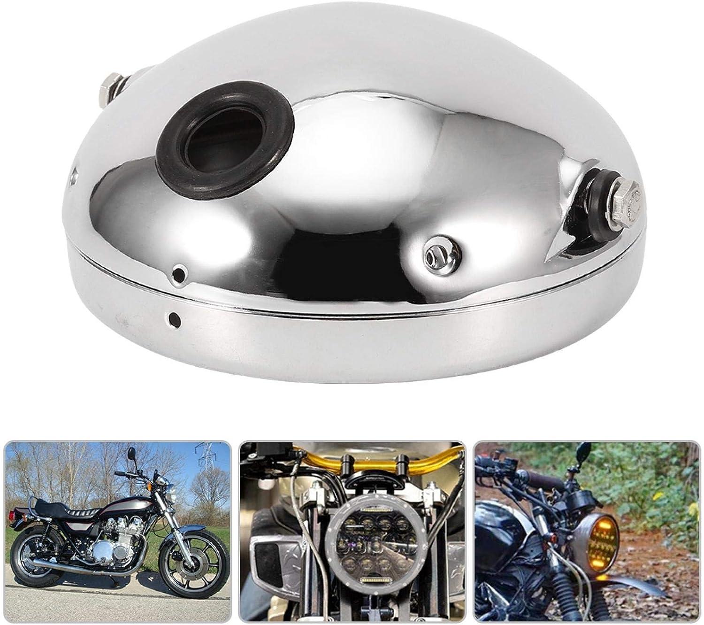 Motorrad Lampenabdeckung 7 Zoll Aluminium Motorrad Runde Modifikation Led Scheinwerfer Gehäuse Abdeckung Silber Auto