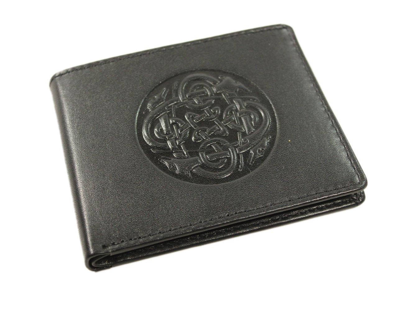 Irish Leather Wallet Black Celtic Wolf Hound Design Ireland Made