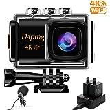 アクションカメラ 4K カメラ WiFi搭載 手ぶれ補正 1080PフルHD 30M防水 2000万画素 Daping タイムラプス動画 外部マイク付き HDMI接続 リモコン付き 170度広角レンズ ウェアラブルカメラ バイクや自転車、カートや車に取り付け可能 スポーツカメラ アクセサリー多数 1200mAhバッテリー×2 アクションカム (ブラック)