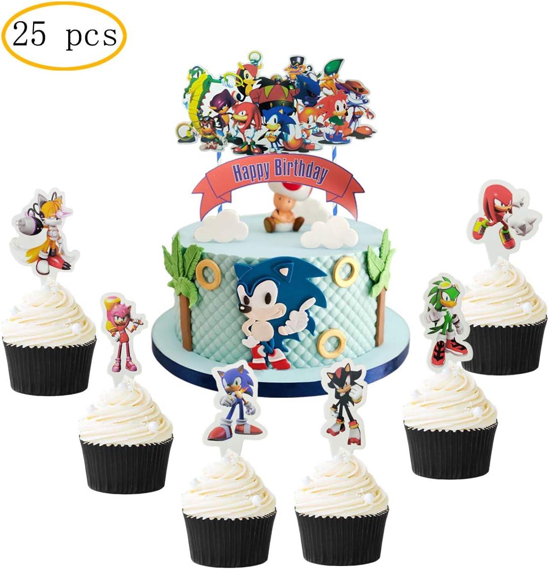 Amazon Com 25 Pcs Sonic The Hedgehog Cake Topper Hedgehog Theme