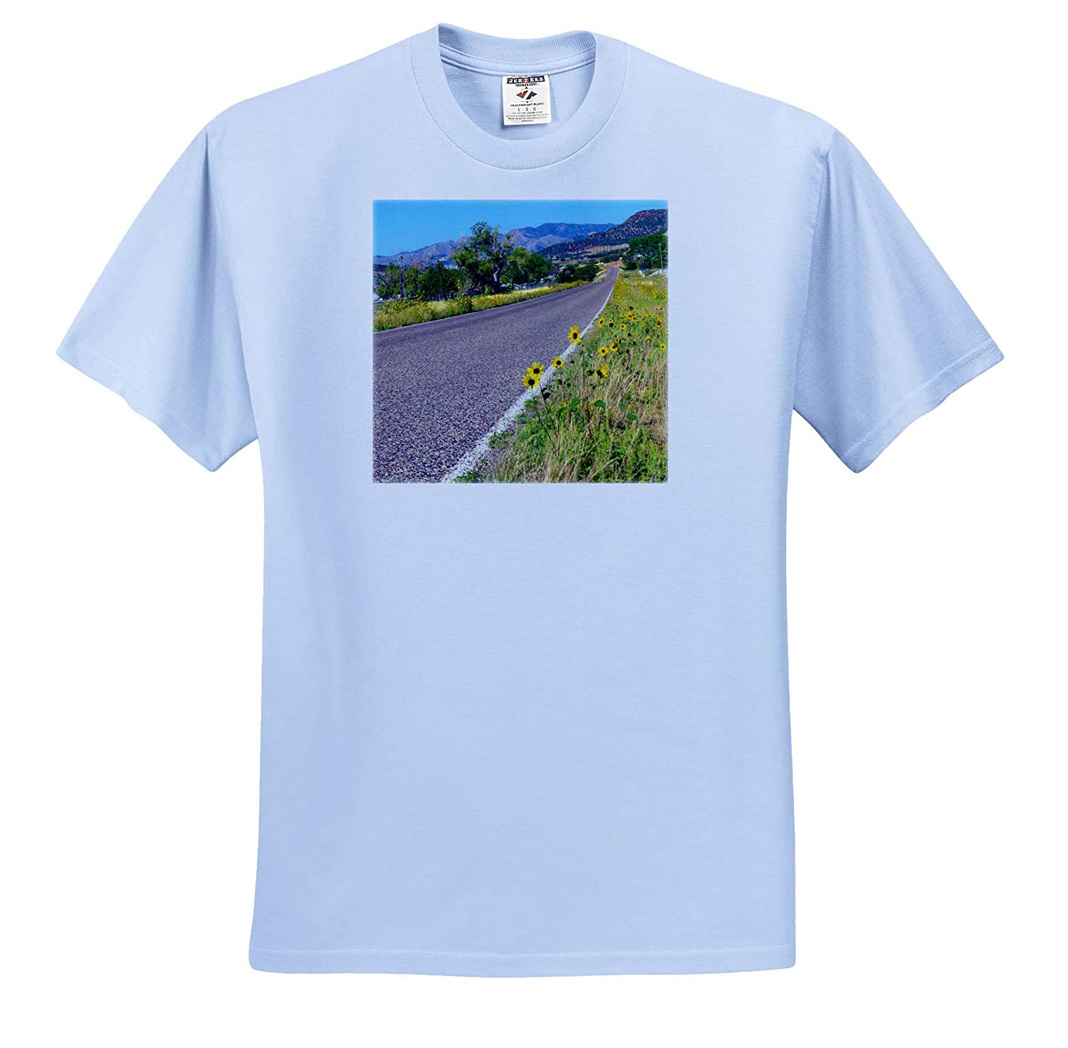 3dRose Jos Fauxtographee T-Shirts The Road in Central Utah Lined with Yellow Flowers Central Road Lined with Flowers