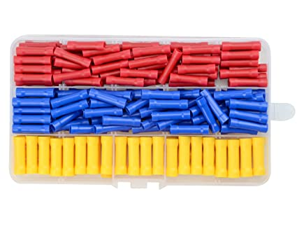50pc Insulated Straight Butt Connectors Electrical Crimp Terminals Wire Cable