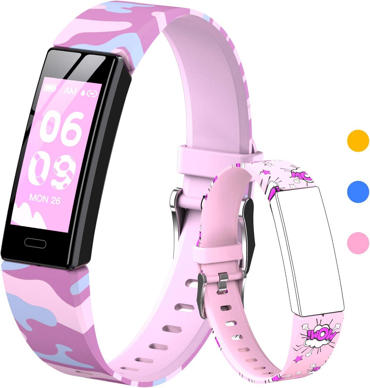 HOFIT Pulsera Actividad Para Niños, Reloj Inteligente con Podómetros, Monitor de Frecuencia Cardíaca y Sueño, Cronómetro, Ip68 Resistente Pulsera Deportiva Banda Inteligente, Smartwatch con 2 Pulseras