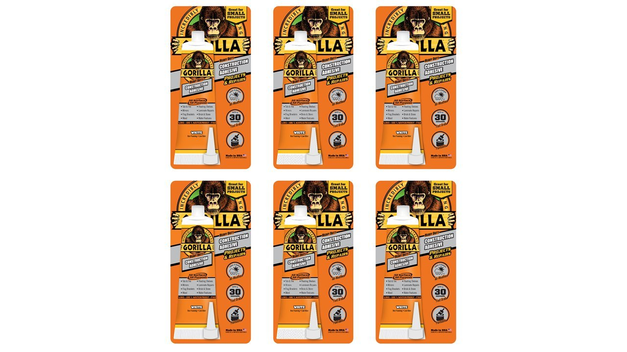 Gorilla Heavy Duty Construction Adhesive, 2.5 ounce Squeeze Tube, White, (Pack of 6)