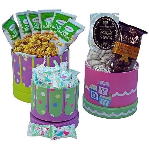 Art Of Appreciation Gift Baskets Congratulations Baby Snacks Treats Gift Tower Neutral Boy