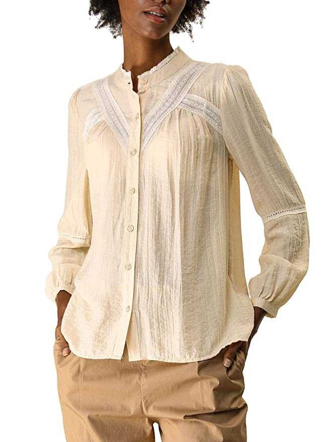 Edwardian Blouses |  Lace Blouses & Sweaters Allegra K Womens Fall Long Sleeve Blouse Boho Casual Button Down Shirt $21.99 AT vintagedancer.com