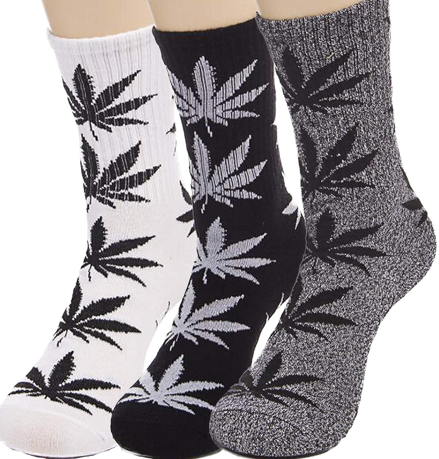 3 Pairs Marijuana Weed Leaf Warm Cotton High Sport Socks Mix Colors