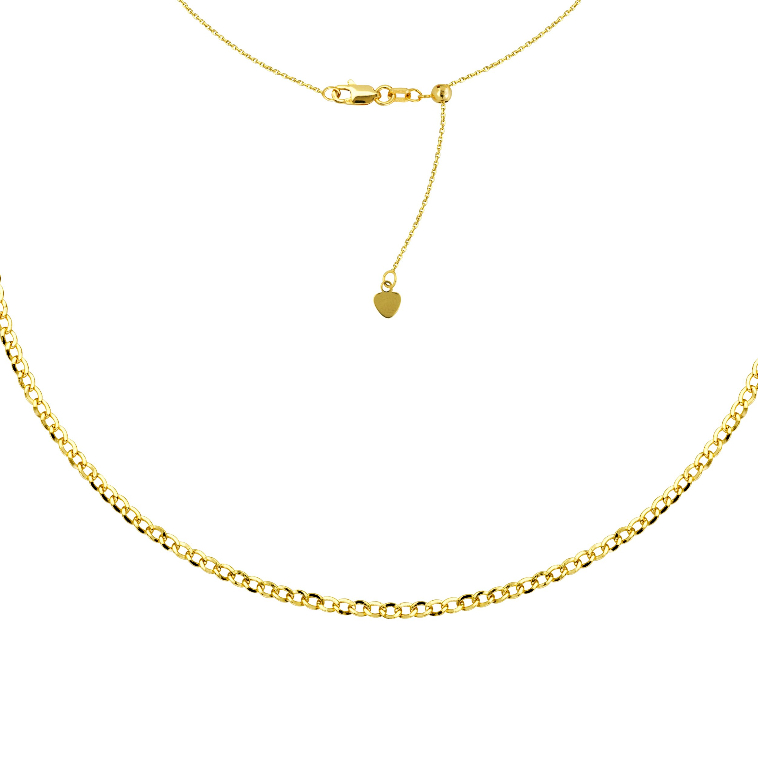 Choker Necklace Curb Style Chain 14k Yellow Gold - Adjustable