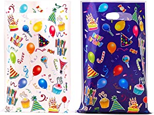 56 Pcs Party Favor Bags in 4 Colors, Plastic Goodies Bags for Birthday Party