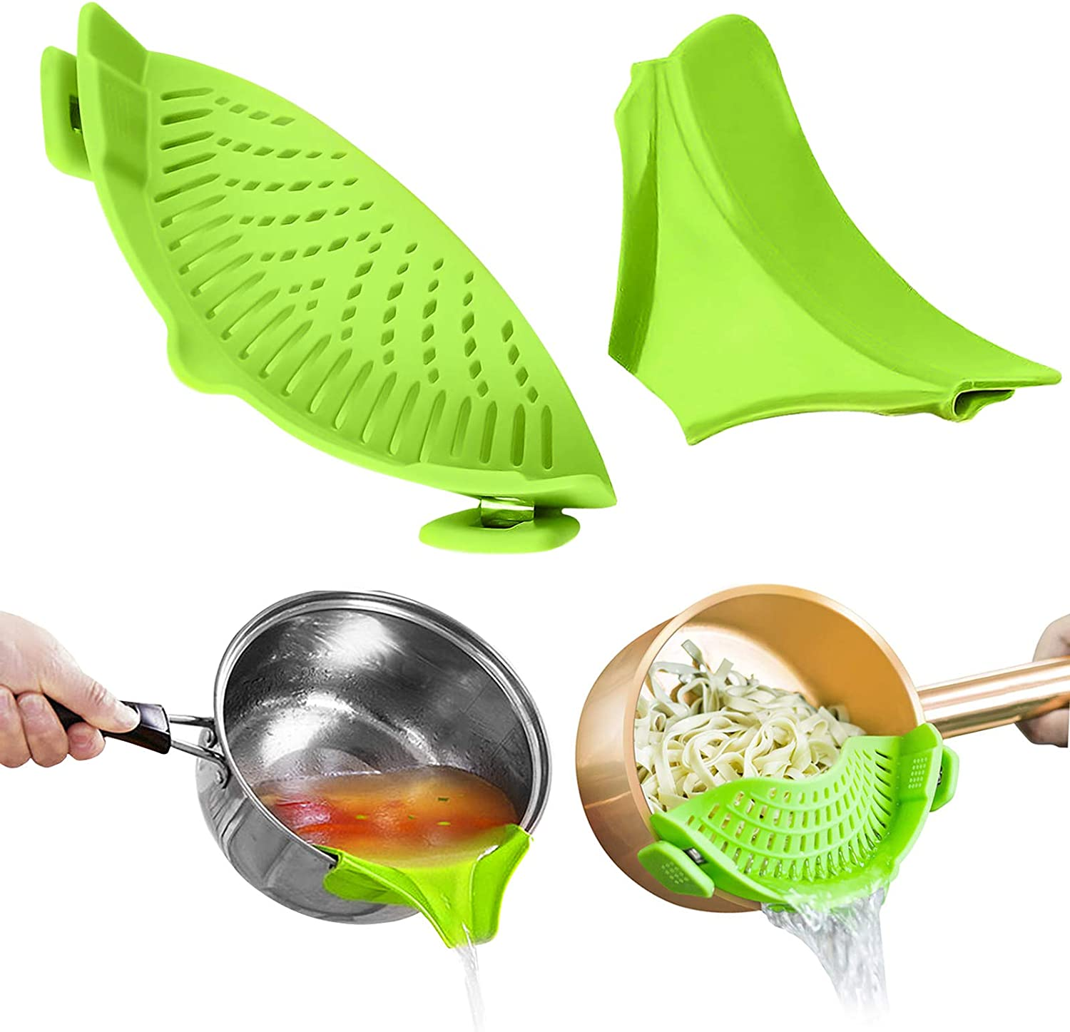 Gxhong Strain Pan Strainer Clip On Silicone Colander Strainer with Slip-On Bowl Pouring Mouth100% Non-toxic for Draining Food While Cooking or Pouring Liquid Fits Most Pans Pots Bowls