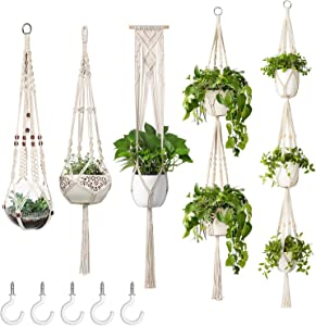 Mkono Macrame Plant Hangers, 5 Pack Different Tiers Indoor Hanging Planters Basket with 5 Hooks Decorative Flower Pots Holder Stand Boho Home Decor