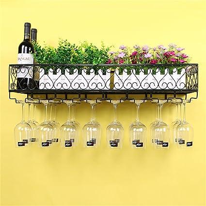 Estante de vino Soporte de pared retro Hierro forjado Estante de vino Barra de colgar Contador