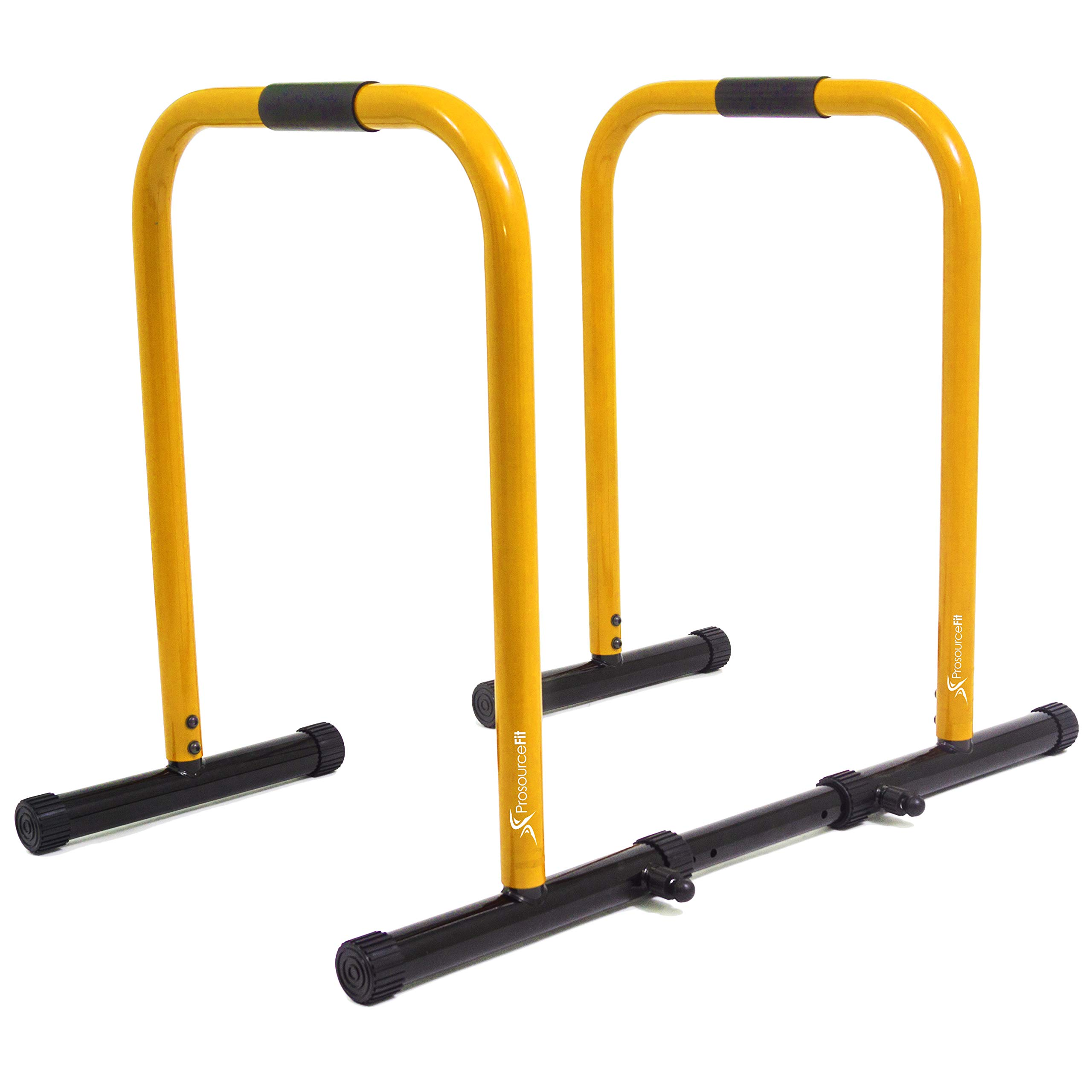 ProsourceFit Dip Stand Station, Heavy Duty Ultimate Body Press Bar with Safety Connector for Tricep Dips, Pull-Ups, Push-Ups, L-Sits, Yellow by ProsourceFit