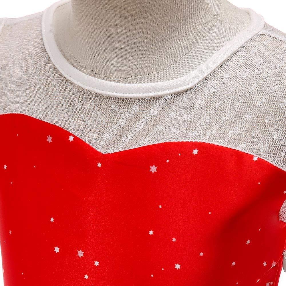 feiXIANG Neonate Mio Primo Natale Bambina Bambini Bambine Abiti Natalizi Vestiti in Pizzo Costume della Santa del Partito del Vestito Outfit Set Abito da Principessa 12 Mesi-7 Anni