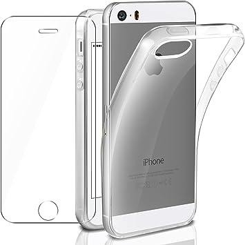 Leathlux Coque Compatible avec iPhone 5 /5s/Se avec Verre trempé écran Protecteur, Transparente Souple Silicone Étui Protection Bumper Housse TPU Case ...