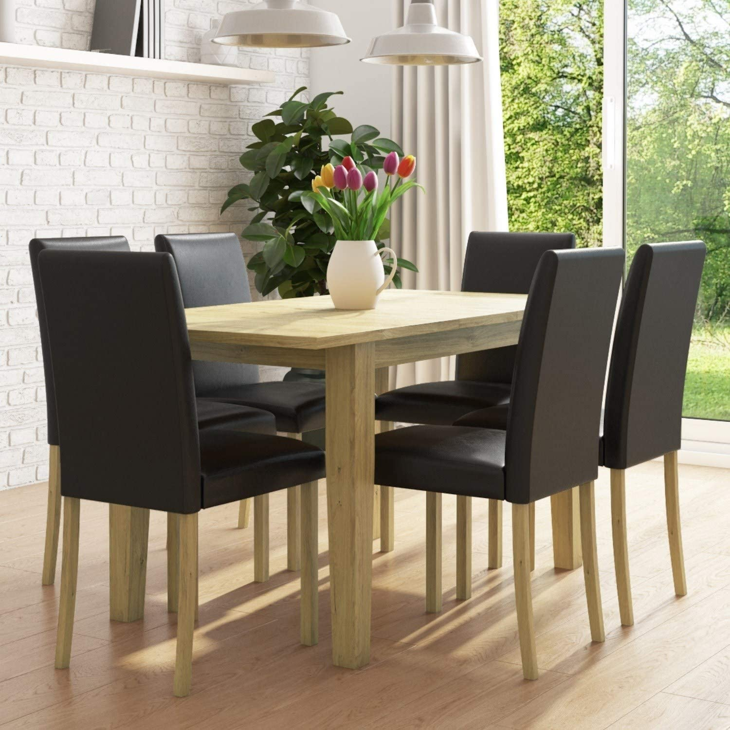 New Haven Oak Extendable Dining Set With 6 Black Leather Dining Chairs Amazon Co Uk Kitchen Home