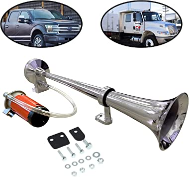12V 150db Air Horn kit,Super Loud 18 Inches Chrome Zinc Single Trumpet Truck Air Horn with Compressor for Any Car Truck Lorry Train Boat /… white