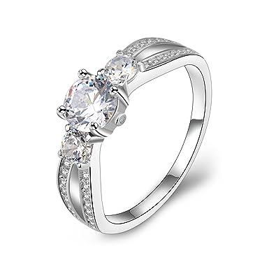 Meyiert 925 Sterling Silver Brilliant Zirconia Solitaire Eternity Promise Engagement Wedding Rings mvQbx4WAp