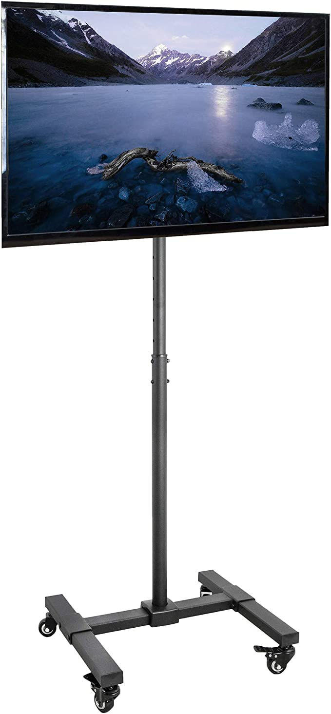 Vivo Mobile Tv Display Stand For 13 To 42 Inch Led Lcd Flat Panel Screens Rolling Floor Stand Height Adjustable Mount With Wheels Stand Tv07w Home Audio Theater