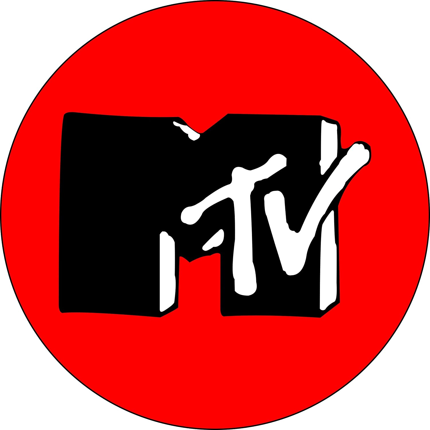 Amazon Mtv Logo Black And White On Red 1 Buttonpin