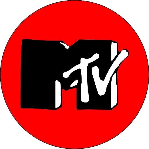 amazon com mtv logo black and white on red 1 button pin rh amazon com red and black logo designs red and black logo designs