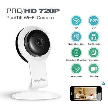 SANNCE 720P IP Camera Cámara de vigilancia Casa Videocámara WiFi inalámbrico sin hilos Cámara Videovigilancia Visor