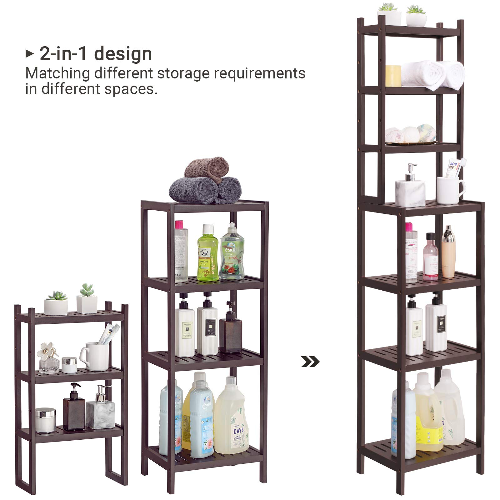 SONGMICS 7-Tier Bamboo Bathroom Shelf, 2-in-1 Design Adjustable Storage Rack, Free Standing Multifunctional Organizer, Shelving Unit for Washroom, Living Room, Kitchen, Brown UBCR01BR by SONGMICS (Image #2)