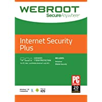 Webroot Internet Security Plus with Antivirus Protection | 3 Device | 1 Year Subscription | PC/Mac Disc