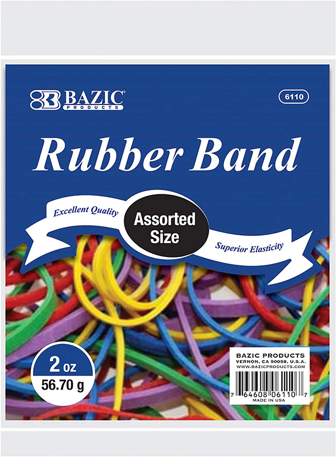 BAZIC 2 Oz./ 56.70 g Assorted Sizes & Color Rubber Bands - for File Folders Bank Paper Bills Money, General Purpose, Office Bank Home Supply - Color May Vary, 1-Pack