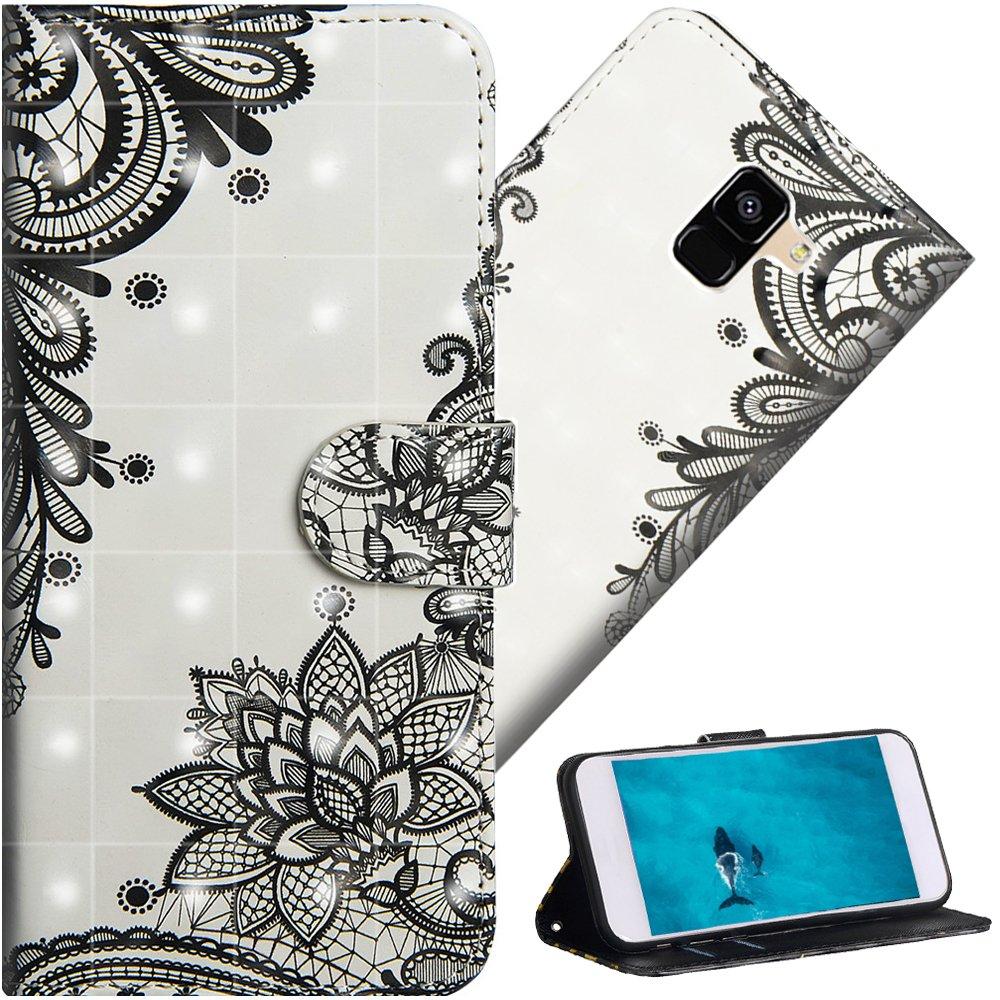 COTDINFOR para Samsung Galaxy A6 Plus 2018 funda protectora efecto 3D pintada funda de piel premium PU funda Flip Viewing Shell con cierre parachoques a prueba de golpes titular de la tarjeta resistente a los arañazos para Samsung Galaxy A6 Plus 2018 Diago