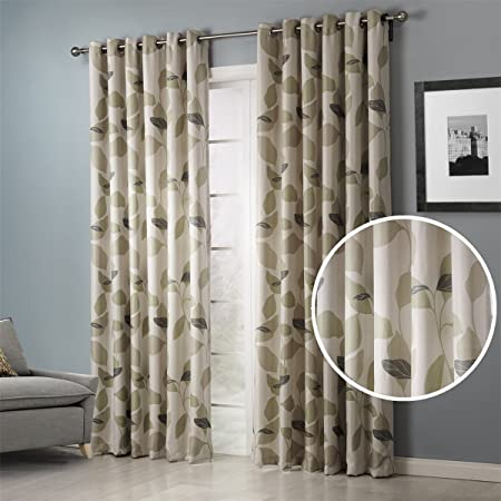 Dreaming Casa Beige Window Treatment Drape Curtains Green Fresh Leaves Grommet Top 63 Inches Long for Bedroom Living Room 2 Panels 52 W x 63 L