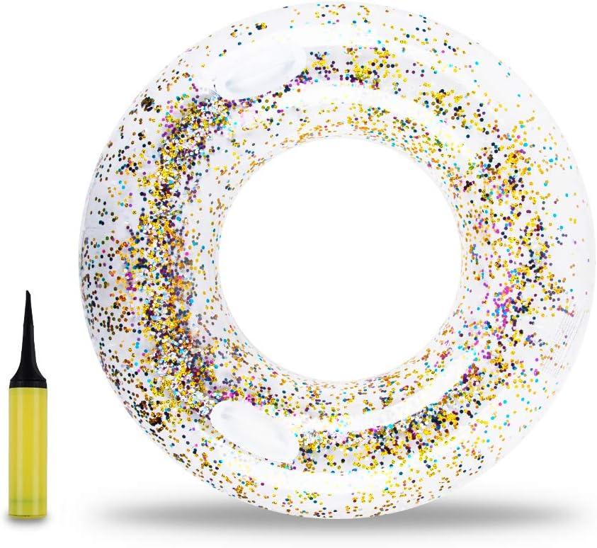 Gorse Transparent Inflatable Tube Swim Tube Glitter Swim Ring Raft Durable Round Summer Pool Float Inflatable Swim Inner Tube for Adults Summer Swim Pool Thicken (Transparent) (110CM - Swim Ring)