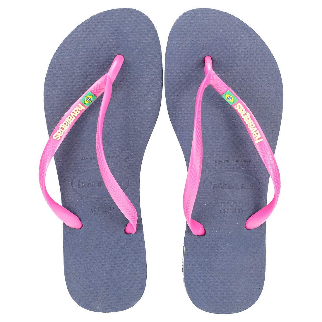 GENUINE Havaianas Brasil 2018 LOGO SLIM WHITE NAVY PINK FLORAL Flip Flops thongs