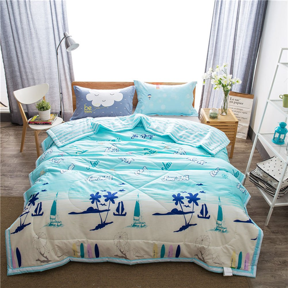 Uther Full/Queen Summer Quilt , Thin Comforter for Summer or Spring , Cotton Bed Summer Air Conditioning Quilt Comforter , Beach Pattern