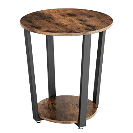 VASAGLE Vintage End Table, Metal Side Table, Round Sofa Table With Storage  Rack,