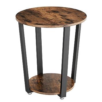 VASAGLE Vintage Beistelltisch Metall, Kaffeetisch, Runder Sofatisch Mit  Eisengestell, Tisch Für Wohnzimmer,