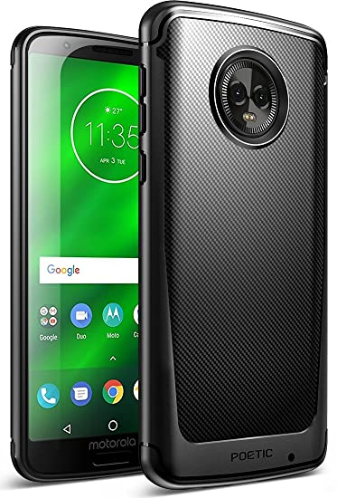 check out 76ded 57264 Moto G6 Plus Case, Poetic Karbon Shield [Shock Absorbing] Slim Fit TPU Case  with [Carbon Fiber Texture] for Motorola Moto G6 Plus Black